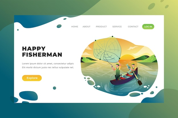 Pescatori felici - pagina di destinazione vettoriale