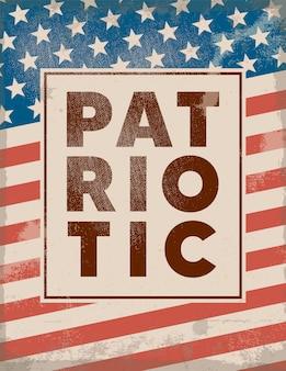 Buon quarto di luglio. poster retrò patriottico. sfondo con texture vintage.