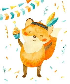 Cucciolo di volpe felice con piume indiane e con una torta in mano acquerello di carattere carino vacanza