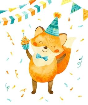 Volpe felice con un berretto di compleanno in testa e con un cupcake in mano simpatico personaggio festivo