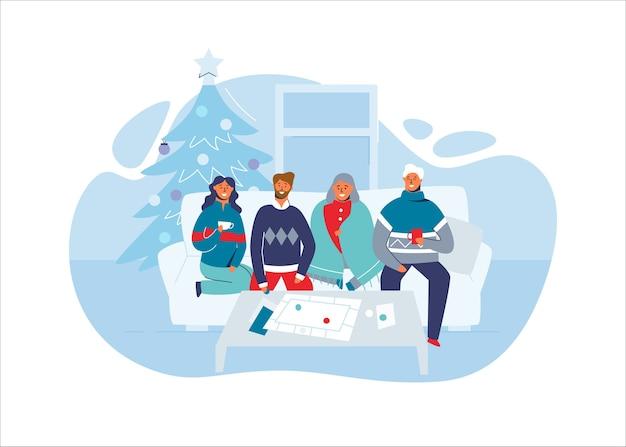 Amici felici che celebrano il natale insieme a casa. personaggi durante le vacanze invernali con l'albero di natale. due coppie a capodanno.