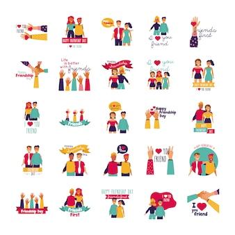 Felice festa dell'amicizia con persone e icone impostate