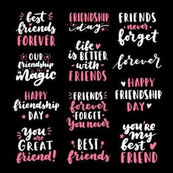 Happy friendship day carino mano lettering grande set.