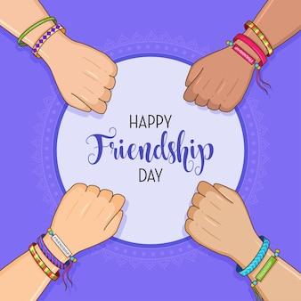 Felice giorno dell'amicizia amici con una pila di mani che mostrano unità e lavoro di squadra vista dall'alto le persone che uniscono le mani