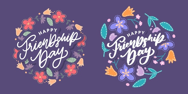 Cartolina d'auguri di felice giorno dell'amicizia. per poster, flyer, banner per modello di sito web, cartoline, poster, logo. illustrazione vettoriale.