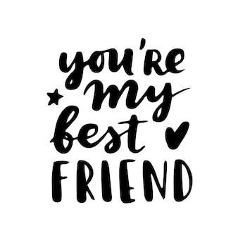 Iscrizione della mano di happy friendship day. migliori amici per sempre. modello di tipografia biglietto di auguri.