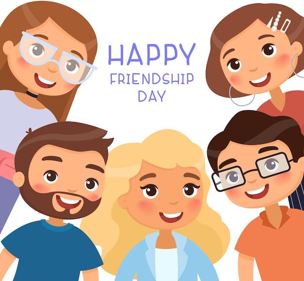 Poster di happy friendship day con cinque giovani donne e amici di giovani uomini divertente personaggio dei cartoni animati