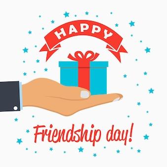 Modello di giorno dell'amicizia felice per banner poster con logo biglietto di auguri con scatola regalo nel palmo della mano