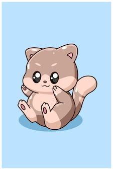 Fumetto del gatto del bambino felice e divertente