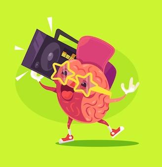 Carattere divertente del cervello felice ascolta musica, illustrazione piana del fumetto