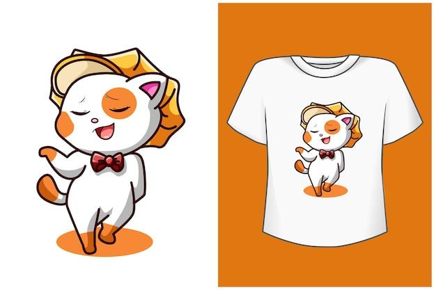 Modello di tshirt cartone animato gatto felice e divertente