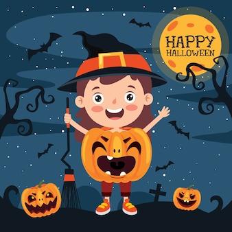 Bambino divertente felice che celebra halloween