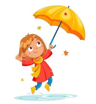 Bambino felice e divertente con un impermeabile rosso e stivali di gomma autunno piovoso ragazza allegra personaggio dei cartoni animati