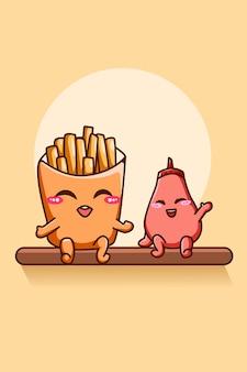 Patatine fritte felici e divertenti con l'illustrazione del fumetto della salsa piccante