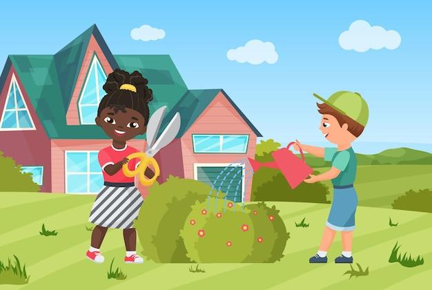 Le foglie della pianta acquatica dei bambini felici e divertenti del giardiniere coltivano il cespuglio nel paesaggio del giardino
