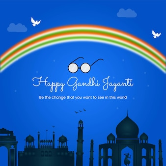 Modello di progettazione banner felice gandhi jayanti