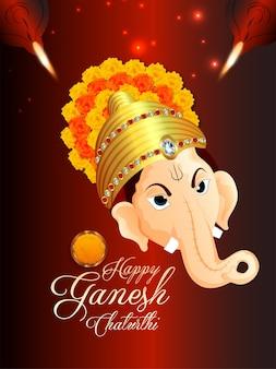 Felice volantino di celebrazione di ganesh chaturthi con l'illustrazione del signore ganesha