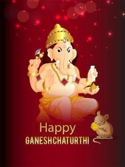 Felice volantino di celebrazione di ganesh chaturthi con illustrazione di lord ganesha