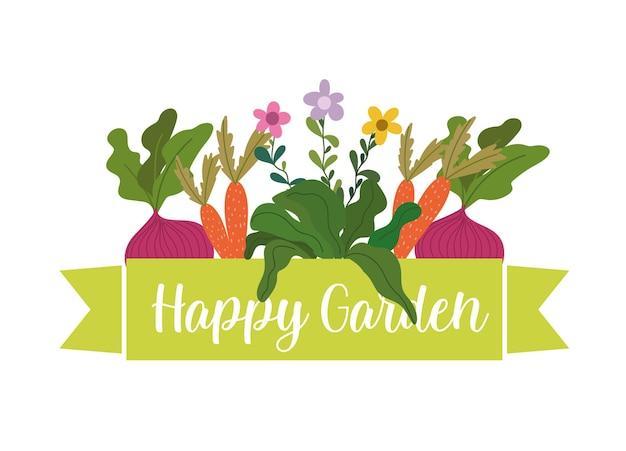 Illustrazione felice delle piante e dei fiori della barbabietola delle carote del giardino
