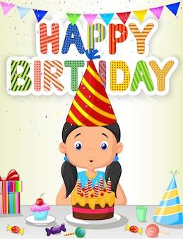 Ragazza felice che soffia le candele di compleanno Vettore Premium