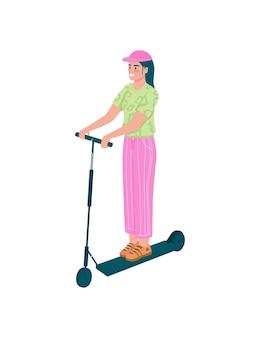 Ragazza felice sul personaggio dettagliato piatto scooter elettrico. donna in sella al trasporto personale. attività all'aperto per cartoni animati primaverili isolati