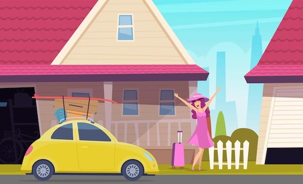 La ragazza felice va a viaggiare. viaggio in macchina, guida della giovane donna alla spiaggia. auto con bagagli e cartone animato carino femmina vicino a casa illustrazione vettoriale. trasporto auto da viaggio, donna con bagagli vicino all'auto