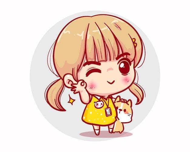 Saluti ragazza felice e design del personaggio sorriso