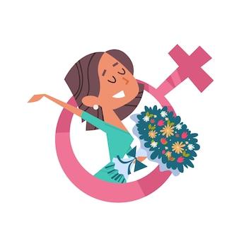 Felice ragazza con bouquet womens giorno 8 marzo festa celebrazione concetto banner flyer o biglietto di auguri ritratto illustrazione