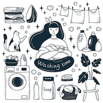Ragazza felice in lavanderia. stile doodle del fumetto disegnato a mano. illustrazione in bianco e nero