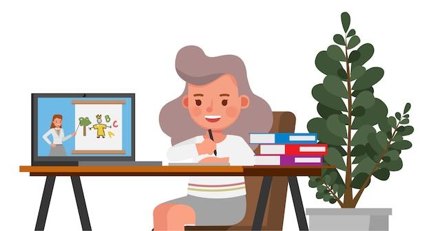 Ragazza felice che impara online con il carattere del computer. resta a casa concetto.