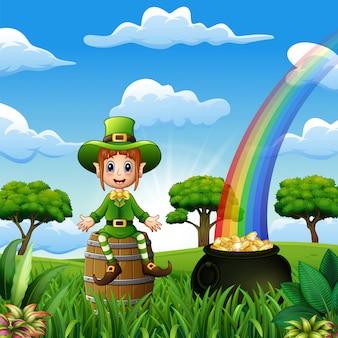 Leprechaun felice della ragazza che si siede sul barilotto di legno