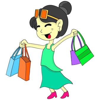 Giornata dello shopping felice della ragazza. adesivo carino illustrazione dei cartoni animati