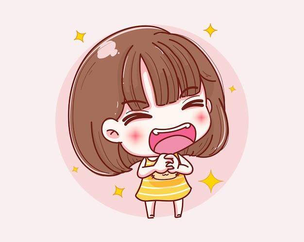 Sorriso felice della ragazza e design del personaggio.