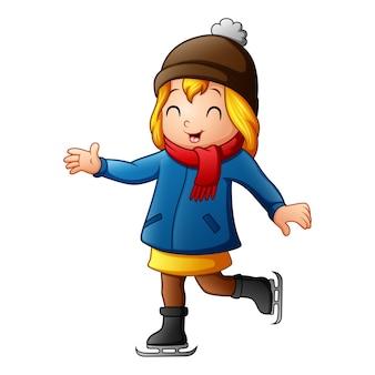 Ragazza felice in vestiti di inverno che giocano pattinaggio sul ghiaccio