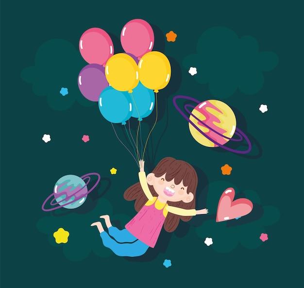 Ragazza felice con i palloncini