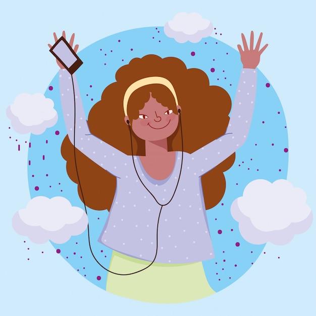 Ragazza felice con l'illustrazione d'ascolto di musica delle cuffie e del cellulare