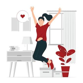 Ragazza felice, una donna che salta con l'illustrazione del concetto di gioia
