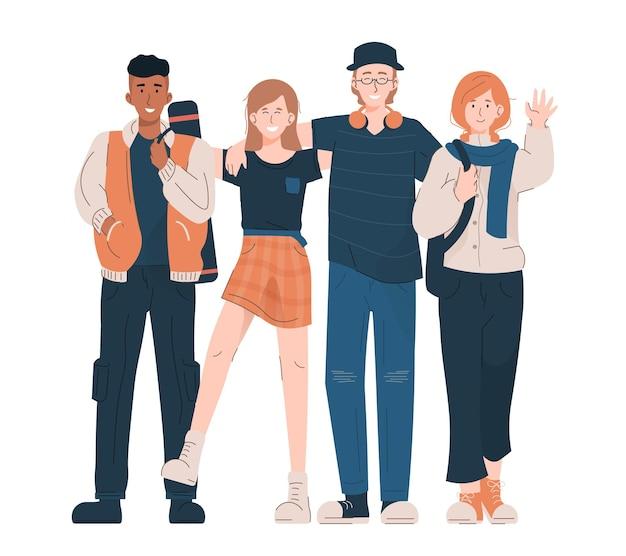 Ragazze e ragazzi felici in abiti casual. concetto di stile di vita giovanile