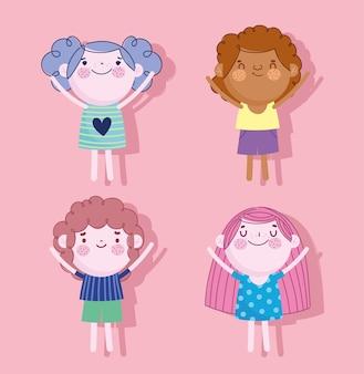 Illustrazione di vettore del fumetto di caratteri di ragazzi e ragazze felici