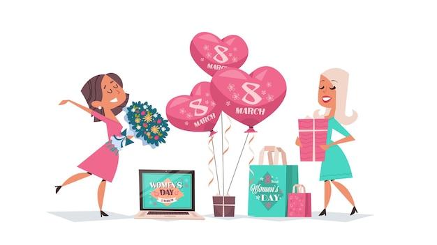 Ragazze felici che celebrano il giorno delle donne 8 marzo festa celebrazione concetto banner volantino o biglietto di auguri illustrazione orizzontale a figura intera
