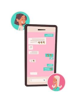 Ragazze felici che chiacchierano in app mobile womens giorno 8 marzo festa celebrazione concetto banner flyer o cartolina d'auguri illustrazione verticale