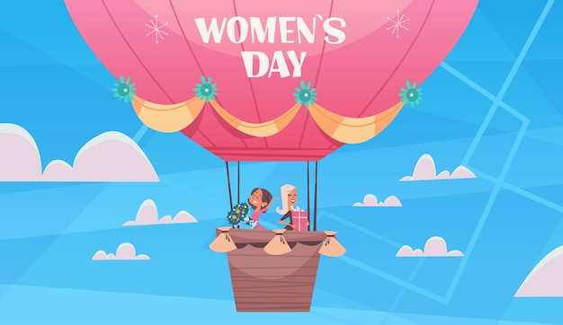 Felice ragazze che volano in mongolfiera womens giorno 8 marzo vacanza celebrazione concetto banner flyer o biglietto di auguri illustrazione orizzontale