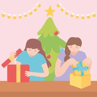 Ragazze felici che aprono scatole regalo nell'illustrazione di vettore della festa di natale
