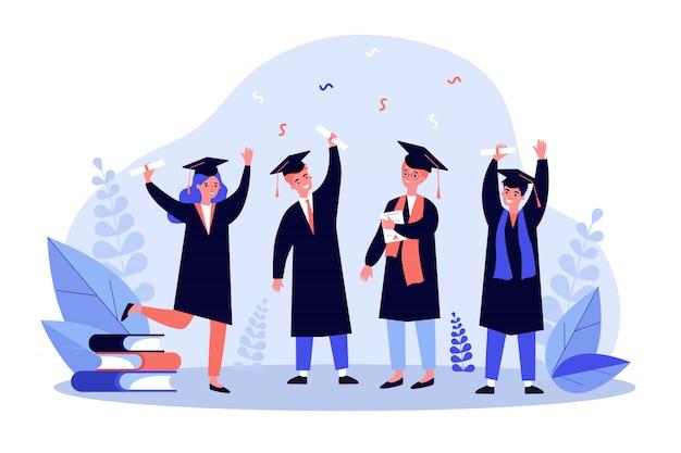 Illustrazione di studenti laureati felice