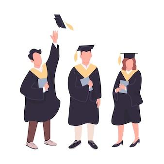 Set di caratteri senza volto di colore piatto laureati felici. studenti universitari in possesso di diplomi di laurea isolato illustrazioni di cartoni animati su sfondo bianco. la gente celebra il conseguimento del titolo accademico