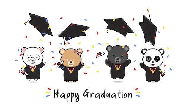 Scheda di laurea felice con simpatico orso laureando doodle fumetto icona illustrazione design piatto stile cartone animato