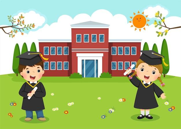 Buon giorno della laurea. diploma di scuola materna davanti all'edificio scolastico