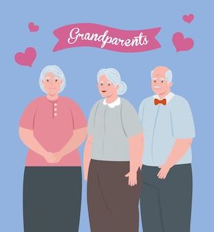 Giorno felice dei nonni con progettazione sveglia dell'illustrazione della gente anziana