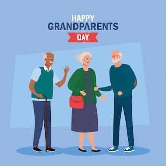 Giorno felice dei nonni con progettazione sveglia dell'illustrazione di vettore degli anziani