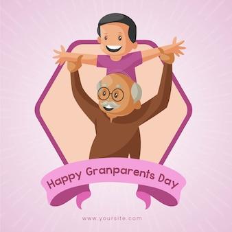 Felice giorno dei nonni banner design. il ragazzo sta giocando con suo nonno.